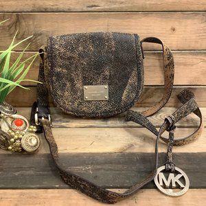 Micheal Kors Brown Mocha Distressed Crossbody bag
